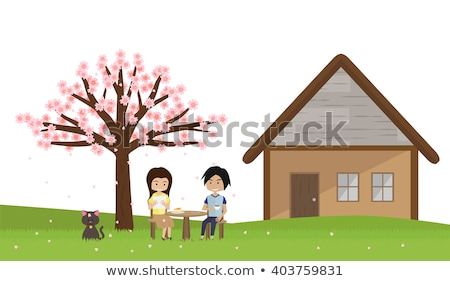 сакура дерево счастливым пару романтические вектора Сток-фото © robuart