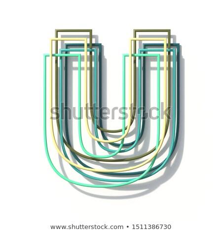 Three colors line font Letter U 3D Stock photo © djmilic
