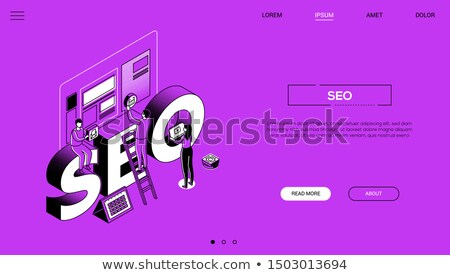 seo experts   line design style isometric web banner stock photo © decorwithme