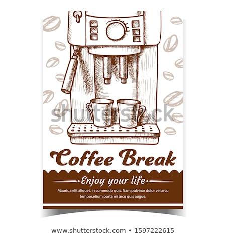 Eszpresszó gép kettő csészék monokróm vektor Stock fotó © pikepicture