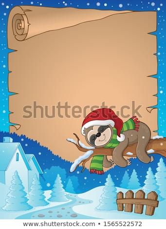 Karácsony pergamen boldog fák tél kalap Stock fotó © clairev