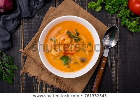 Deniz ürünleri çorba mavi çanak tablo su Stok fotoğraf © tycoon