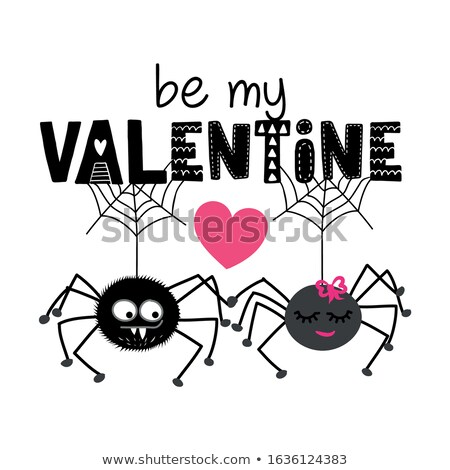 Be my Valentine, 2 hanging spiders in love Stock photo © Zsuskaa