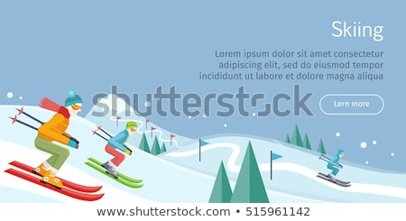Winter Activity Person Skiing by Downhill Vector Stock photo © robuart