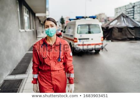 Paramedicus technicus werk gelukkig ziekenhuis portret Stockfoto © Lopolo
