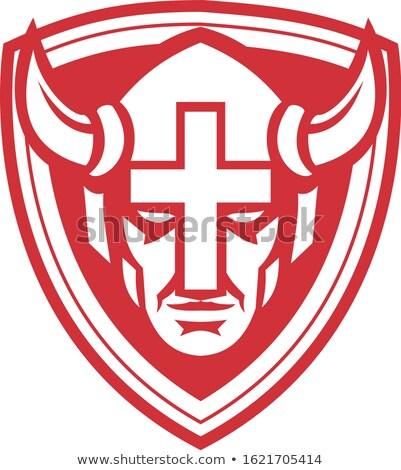 христианской викинг щит талисман икона иллюстрация Сток-фото © patrimonio