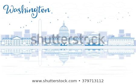 Schets Washington DC skyline Blauw gebouwen reflectie Stockfoto © ShustrikS