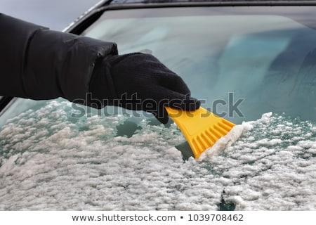 Autóipari jég takarítás szélvédő téli tájkép emberi kéz Stock fotó © simazoran