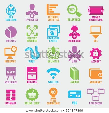 Hosting ikon gyűjtemény webes ikonok papír matricák felhasználó Stock fotó © ayaxmr