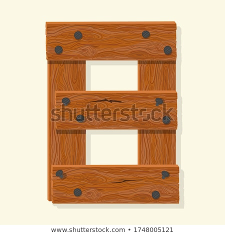 Wood number, wooden plank numeric font held with nails. Vector Stock photo © Andrei_