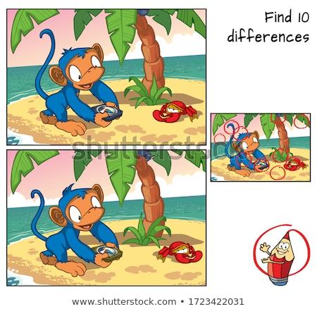 Diferencias educativo tarea Cartoon monos ilustración Foto stock © izakowski