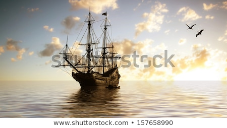 navire · illustration · isolé · blanche · été · bleu - photo stock © photocreo