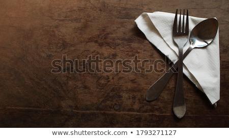 Vintage zilver vork lepel houten ornamenten Stockfoto © elly_l