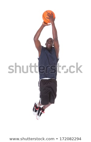 Young man jumping. Studio shot over white. stock photo © nickp37