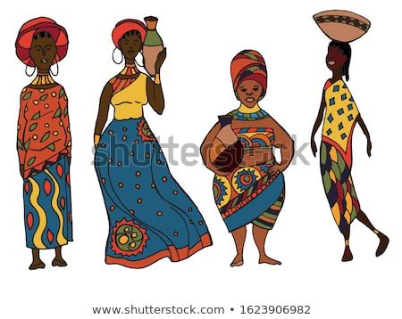 традиционный · африканских · женщину · изолированный · выстрел · красивой - Сток-фото © aremafoto