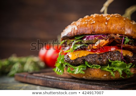 Cheeseburger hamburger macro vet sandwich Stockfoto © ozaiachin
