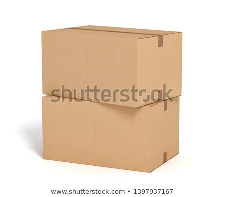 ストックフォト: 2 · 段ボール · ボックス · 孤立した · 白
