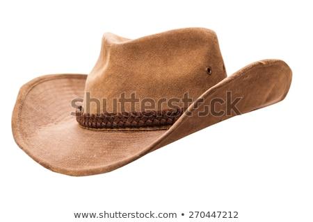 Pelle cappello da cowboy isolato bianco retro cowboy Foto d'archivio © OleksandrO