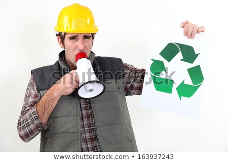 craftsman talking in loudspeaker showing recycling logo Stock photo © photography33