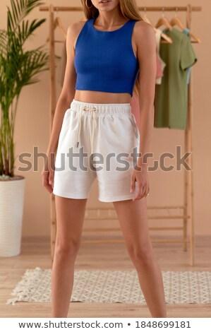 Bastante menina azul calcinhas isolado moda Foto stock © acidgrey