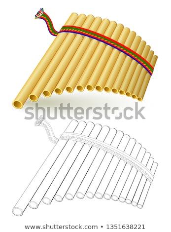 Panela flauta isolado branco bambu soar Foto stock © compuinfoto