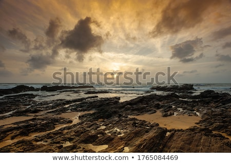 Golden Sunset Over the Ocean with Waves in the Foreground  Stock photo © Frankljr
