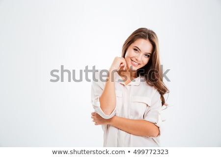 красивая женщина улыбаясь камеры изолированный белый глядя Сток-фото © ElinaManninen