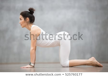 Portrait of a fit woman stretching her back against a white background Stock photo © wavebreak_media