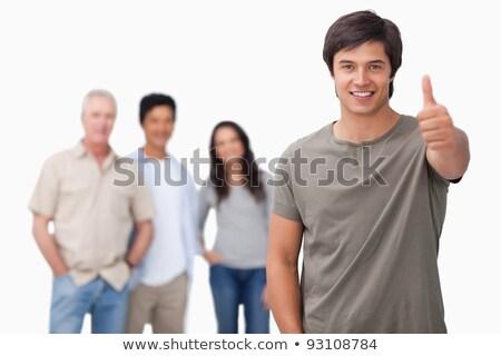 uśmiechnięta · kobieta · biały · tle · podpisania · uśmiechnięty - zdjęcia stock © wavebreak_media