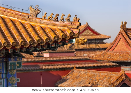 Roof Figurine Yellow Roofs Gugong Forbidden City Palace Beijing  Stock photo © billperry
