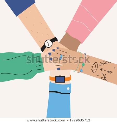 Masculino mãos juntos assinar sucesso isolado Foto stock © Len44ik