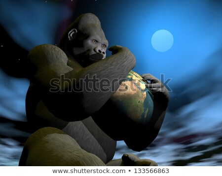 Gorilla Föld 3d render nagy tart karok Stock fotó © Elenarts