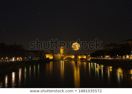 old bridge in verona over adige river   castelvecchio stock photo © meinzahn