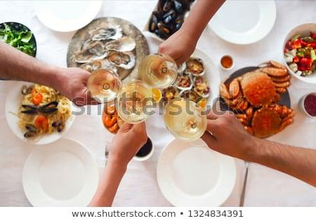 Beyaz şarap lezzetli gurme deniz ürünleri yemek hizmet Stok fotoğraf © jrstock