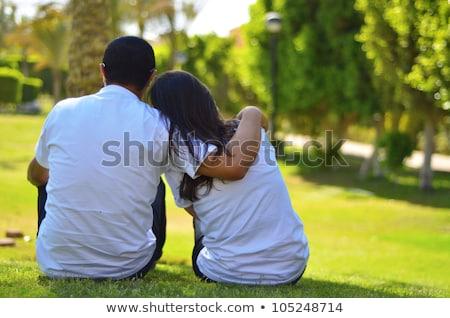 çift · düşen · sevmek · çim · kız · ağaç - stok fotoğraf © Paha_L