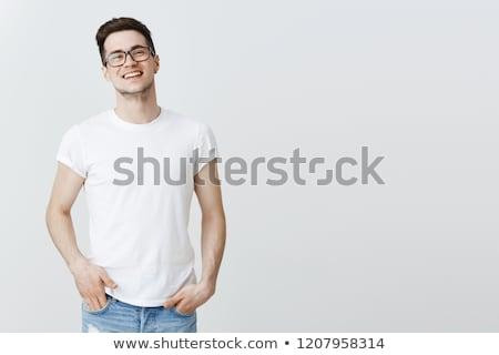 若い男 · 眼鏡 · 手 · 手 · 白 - ストックフォト © laindiapiaroa