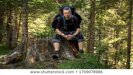 Homem sessão montanha trilha córrego pedras Foto stock © przemekklos
