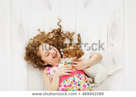 Stock fotó: Fürtös · kislány · kutya · vektor · formátum · mosoly