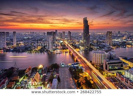 Bangkok város közlekedés városkép felhőkarcolók út Stock fotó © chris2k