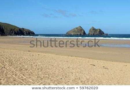 Holywell Bay sandy beach and Carter's rocks, Cornwall UK. Stock photo © latent