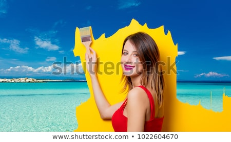 young woman ready for summer vacation on white stock photo © elnur