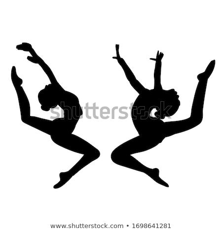 Ginasta menina saltando isolado branco fitness Foto stock © stepstock