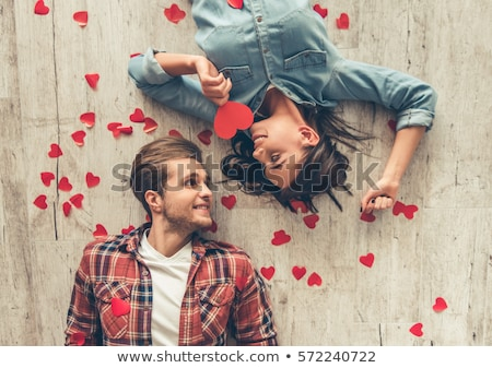 smiling young woman and red heart love valentines day Stock photo © juniart