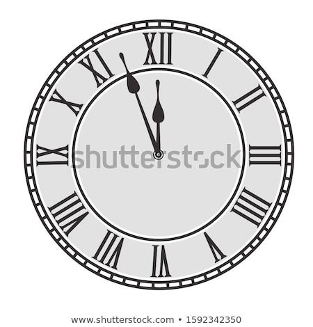 Dos medianoche reloj aislado blanco Foto stock © tarczas