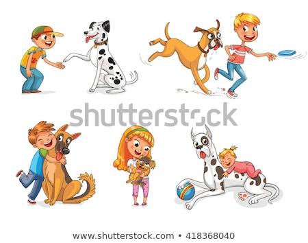 élégant · jouer · chien · blanche · deux - photo stock © meinzahn