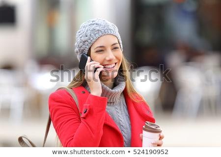 молодые · улыбающаяся · женщина · моде · шуба · розовый - Сток-фото © kor