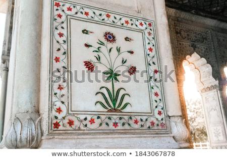 Carrelage travaux détails Inde étage fleurs Photo stock © danielgilbey