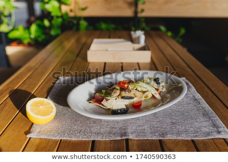 beef rump steak with onion and rice Stock photo © phbcz