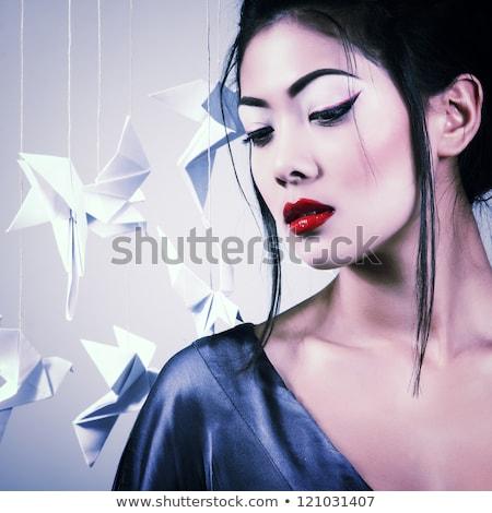 vrouw · ogen · vogel · mooie · vrouw · groene · ogen · artistiek - stockfoto © nejron