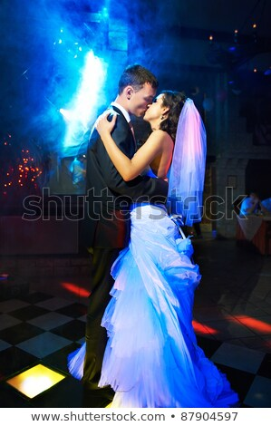 Beautiful bride dancing with veil Stock photo © Nejron